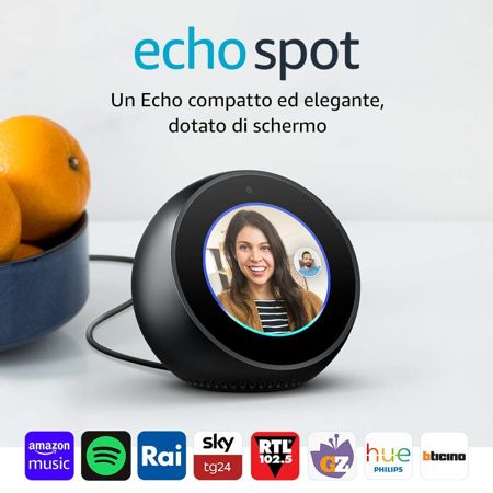 amazon echo spot smart speaker con schermo nero