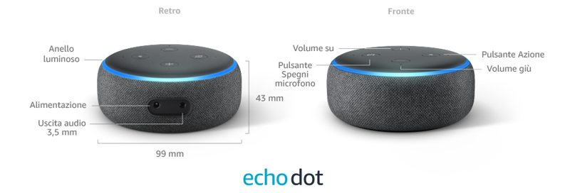 caratteristiche tecniche amazon echo dot