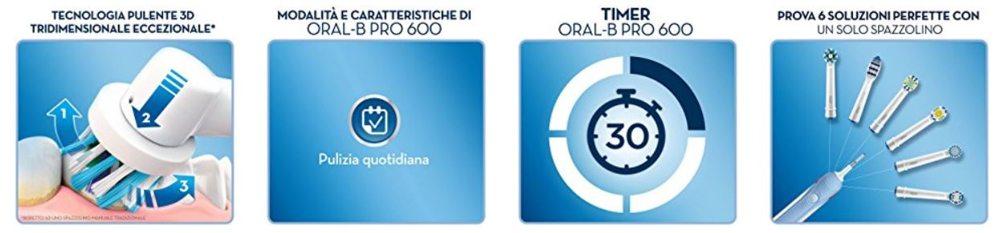 funzionalità spazzolino oral b pro 600 crossaction