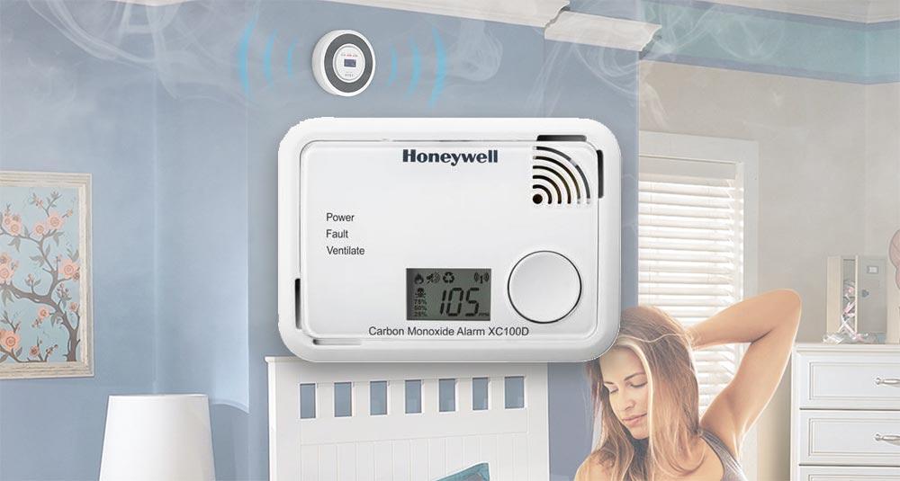 alimentato a batteria con indicatore di CO Honeywell Home XC100D-PL-A Rilevatore di monossido di carbonio