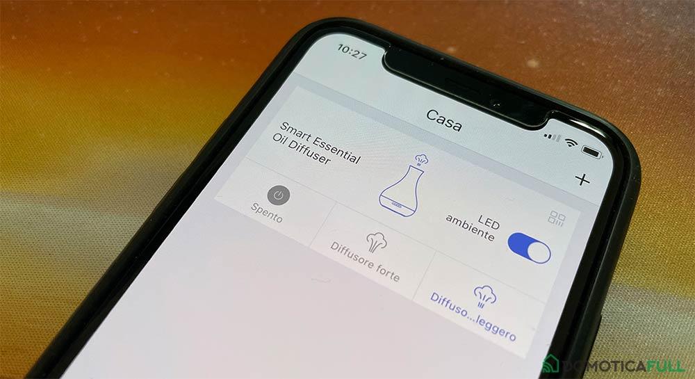 L'app Meross che controlla il diffusore di oli essenziali