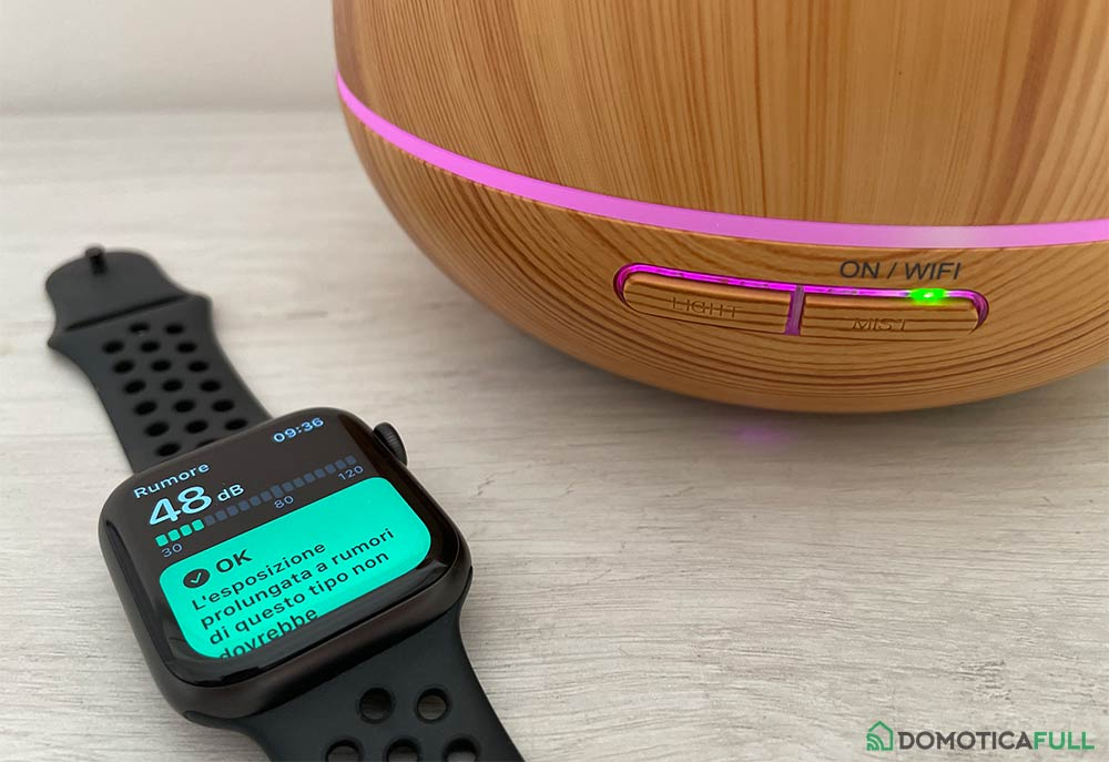 Test rumorosità del diffusore Meross con Apple Watch 6