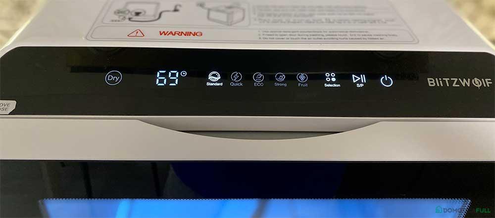 Il display con le modalità di lavaggio